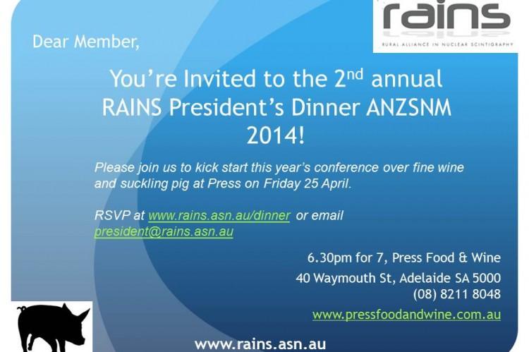 Invite RAINS President Dinner - General